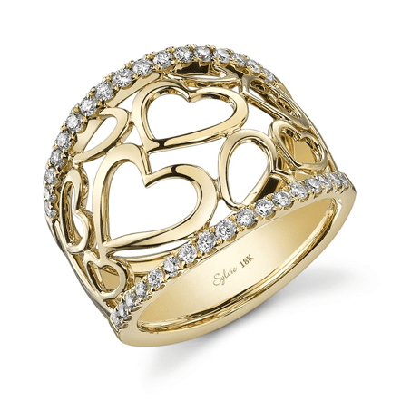 Heart Shaped Yellow Gold Ring Mother's Day Jewelry