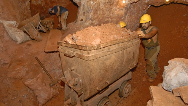 Miners Digging for Ametrine