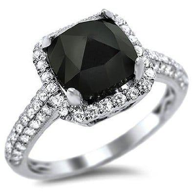 18k White Gold Cushion Cut Black Diamond Engagement Ring