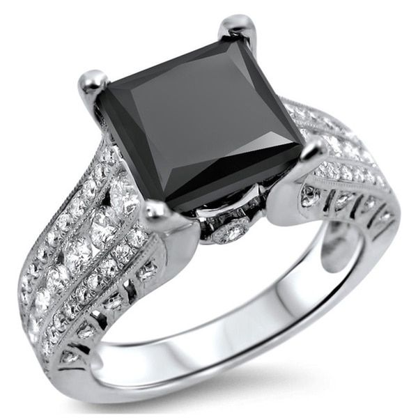 Black Diamond Engagement Ring with diamond bands