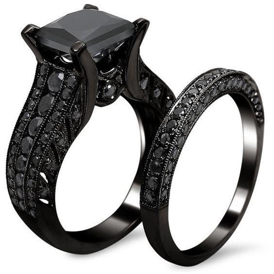 Black Diamond Engagement Ring with Black Diamond Wedding Band