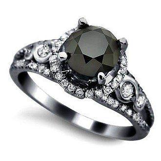 Black diamond engagement ring with diamond halo