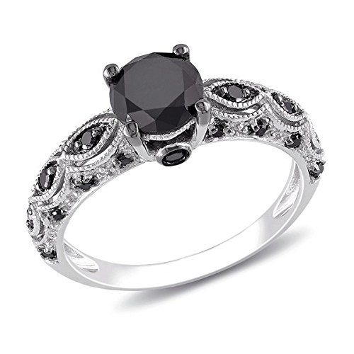 Black Diamond Engagement Ring with Black Diamond Accents