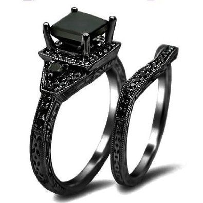 Black Diamond Engagement Ring with Black Gold