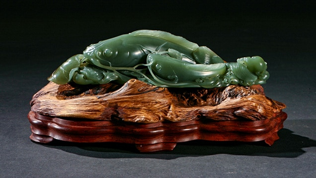 Green jade nephrite carving