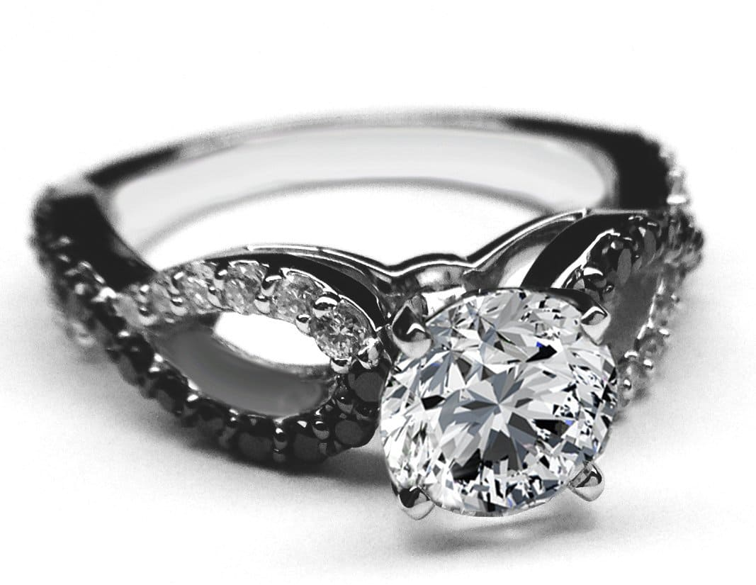 Engagement Ring with Black Diamond Accents