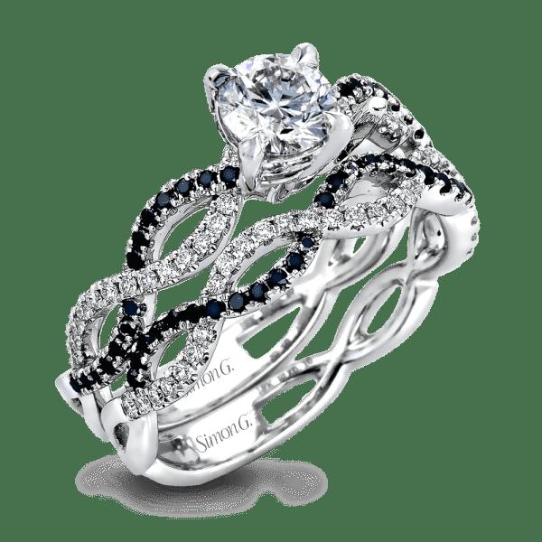 Black Diamond Ribbon Engagement Ring with Wedding Band