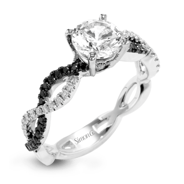 Black Diamond Engagement Ring with Black Diamond Accent