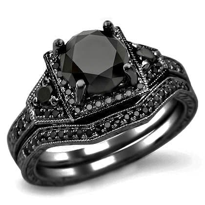 black diamond engagement ring with black gold - Black Diamond Wedding Rings For Women