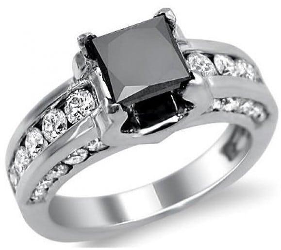 black diamond engagement ring princess cut