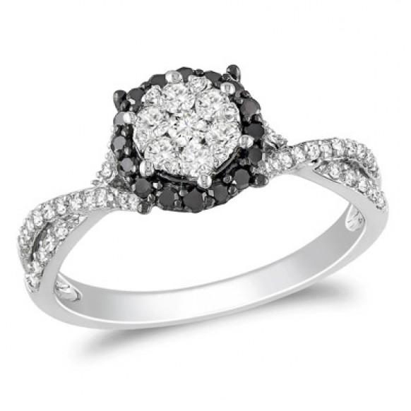 Black Diamond Engagement Ring with Halo