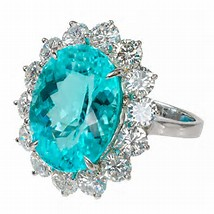 Paraiba Tourmaline mounted in halo ring Brittany's Fine Jewelry Gainesville FL