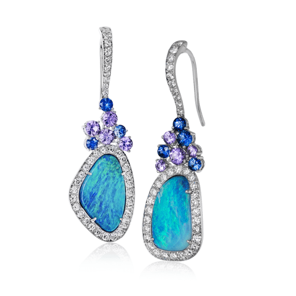 Statement-Earrings-Simon-G.-white-gold-and-australian-boulder-opal-diamond-earrings-4-Types-of-Statement-Jewelry-Brittany's-Fine-Jewelry-Gainesville-FL