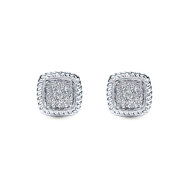 Gabriel Co. 14k White Gold Hampton Stud Earrings