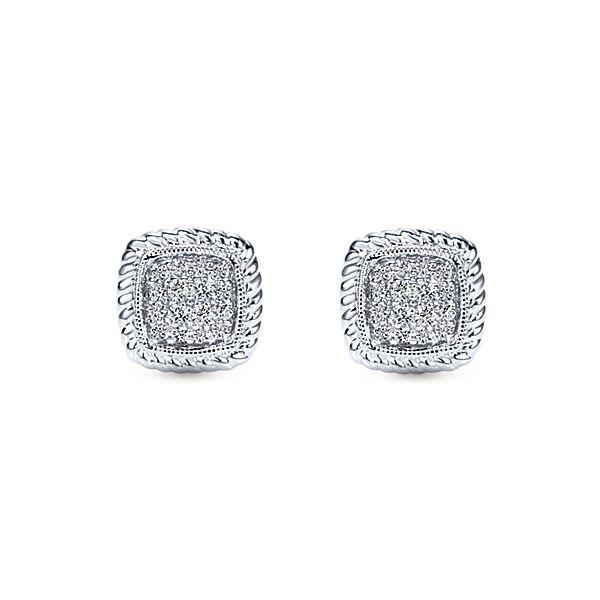Gabriel Co. 14k White Gold Hampton Stud Earrings