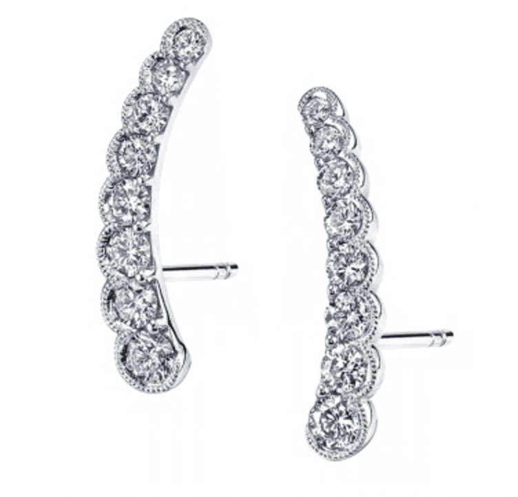 Sylvie Collection Diamond Earrings Climber Beaded Milgrain Bezel
