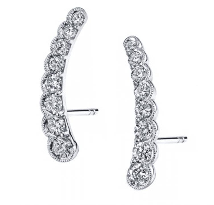 Sylvie Collection Diamond Earrings Climber Beaded Milgrain Bezel