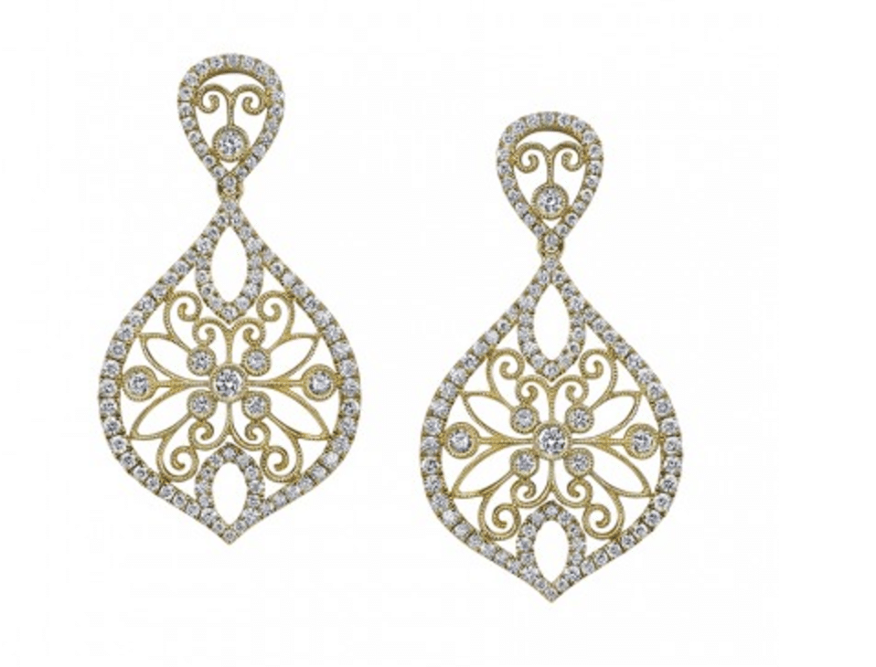 Sylvie Collection Diamond Earrings In Yellow Gold