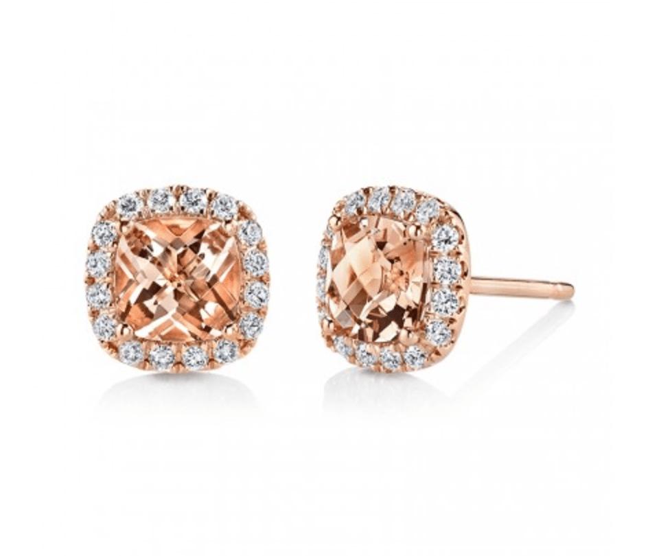 Sylvie Collection Diamond Morganite Earrings