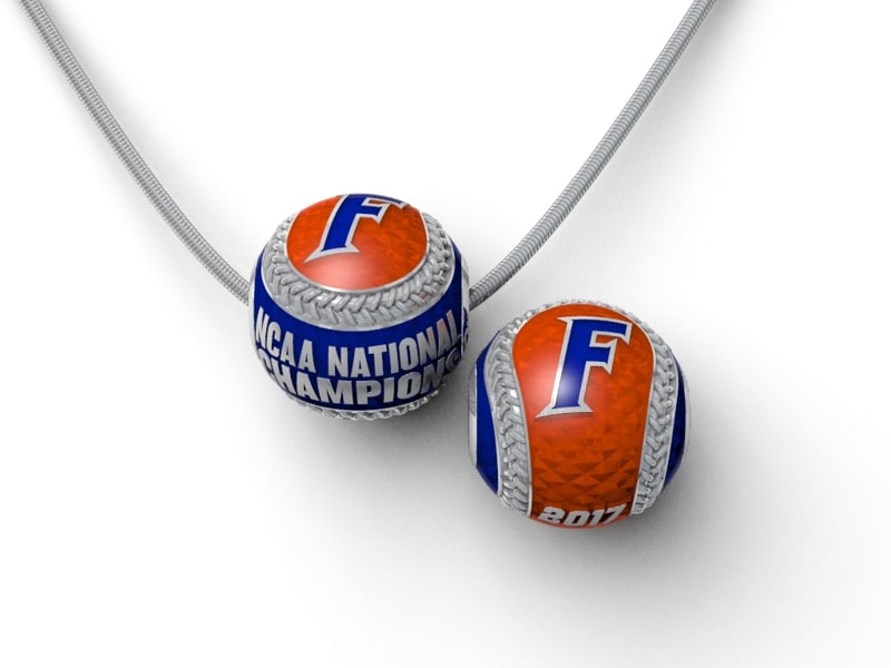 Florida Gators Baseball National Championship Enameled Baseball with Snake Chain Brittany's Fine Jewelry Gainesville FL