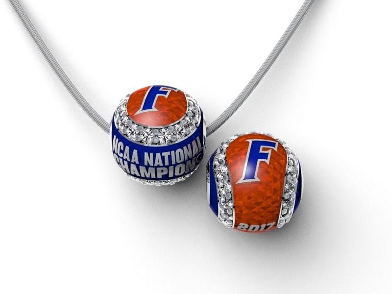 Florida Gators Baseball National Championship Enameled CZ Baseball with Snake Chain Brittany's Fine Jewelry Gainesville FL