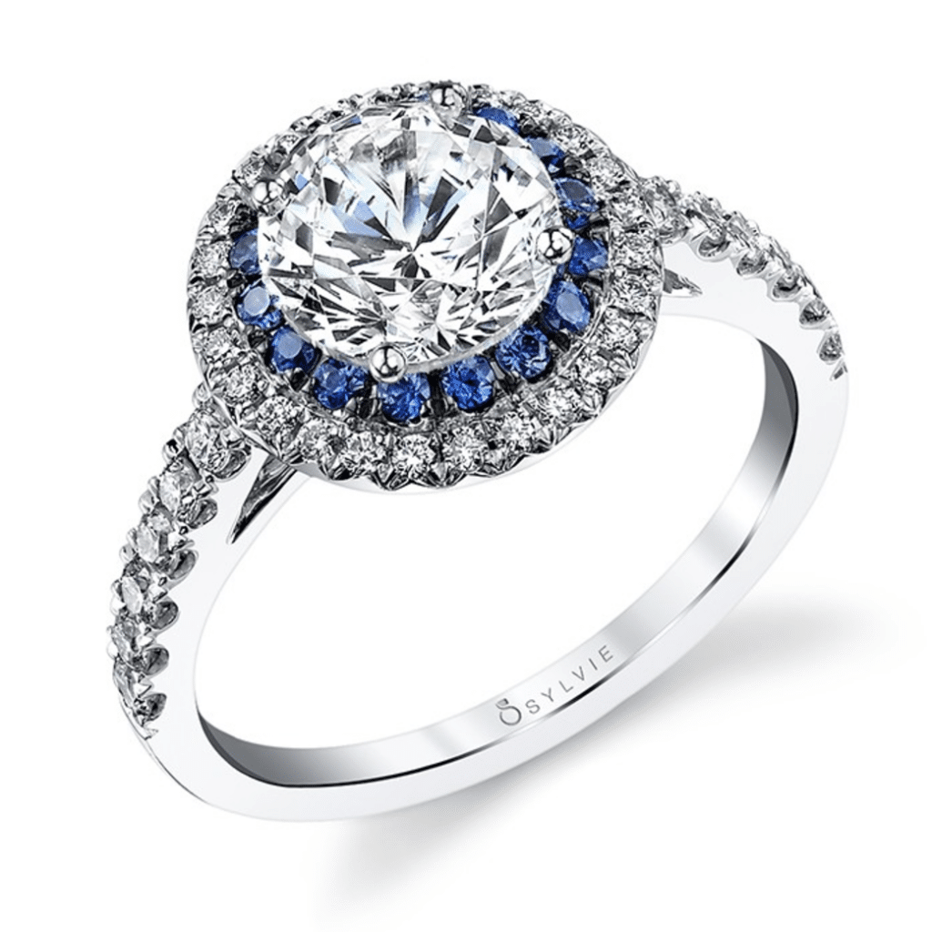 Sapphire Halo Engagement Ring Sylvie Collection