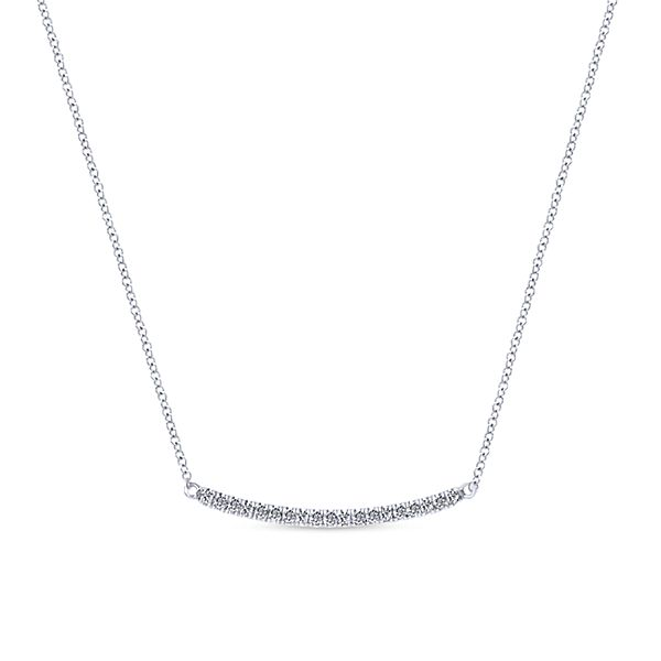 Gabriel 14 k White Gold Bar Diamond Necklace