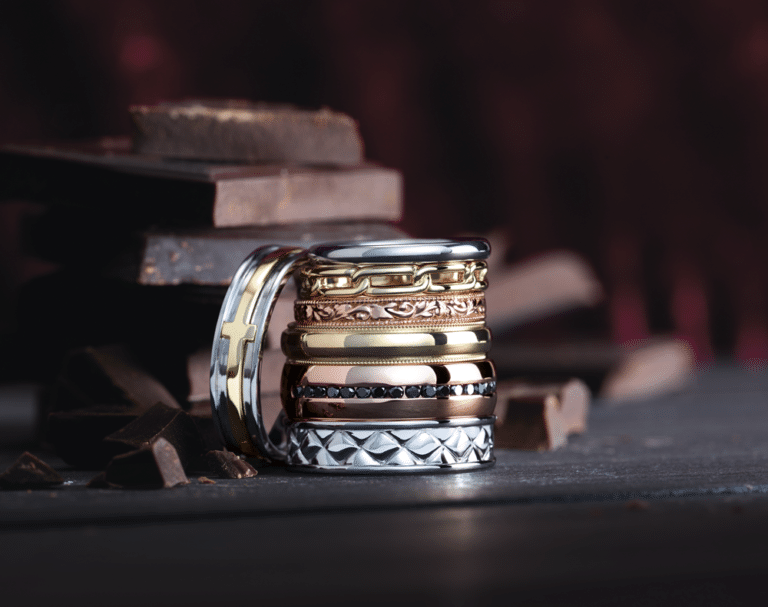 Wedding Bands for Him Stacked