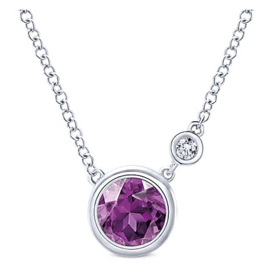 925 Sterling Silver Round Amethyst & Diamond Fashion Gabriel & Co Brittany's Fine Jewelry Gainesville FL