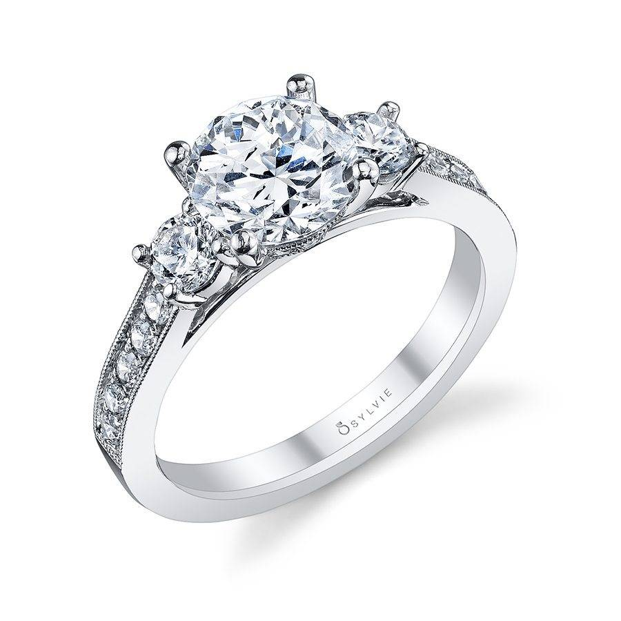 three stone diamond engagement ring sylvie