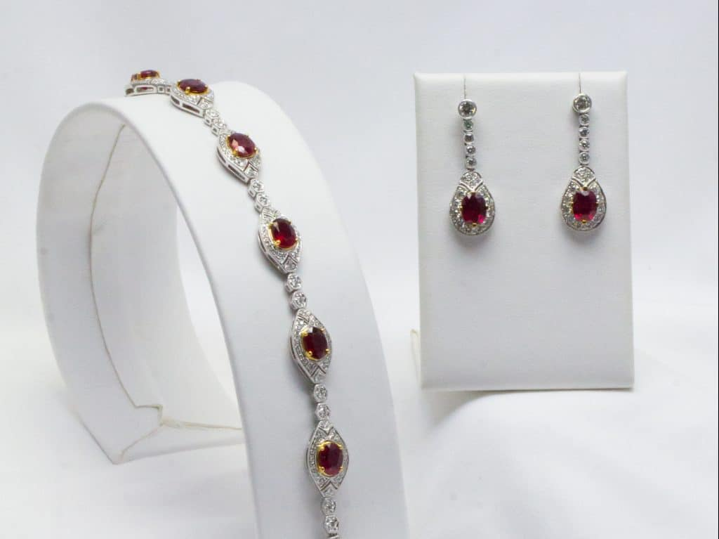 ruby gemstone bracelet and statement earrings