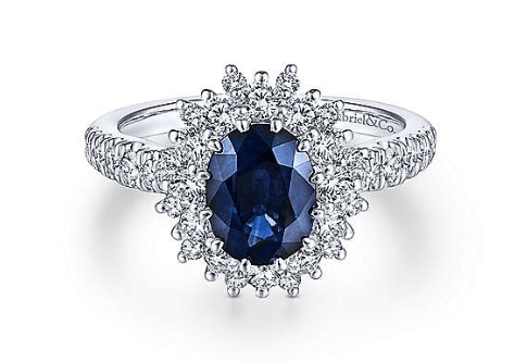 gabriel & co sapphire halo engagement ring in white gold