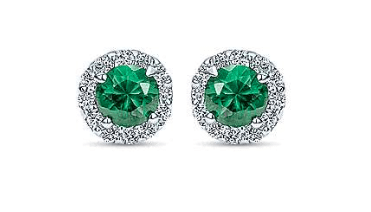 gabriel & co emerald stud earrings with diamonds