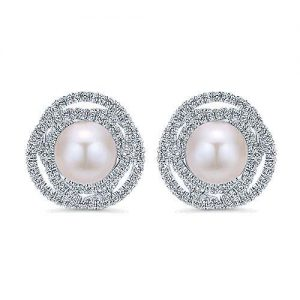 Gabriel and Co. 14k White Gold and Pearl Stud Earring Brittany's Fine Jewelry