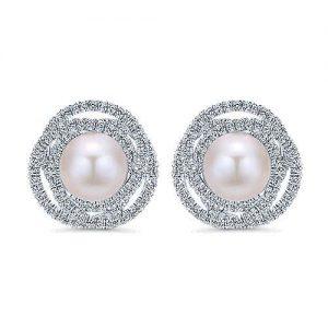 Gabriel et Co.  Boucle d'oreille bouton en or blanc 14 carats et perles Joaillerie fine Bretagne