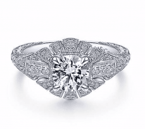 Gabriel and Co. Art Deco Floral Engagement Ring Brittany's Fine Jewelry Gainesville Fl