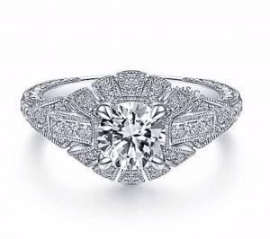 Gabriel et Co.  Art Deco Floral Engagement Ring Brittany's Fine Jewelry Gainesville Fl