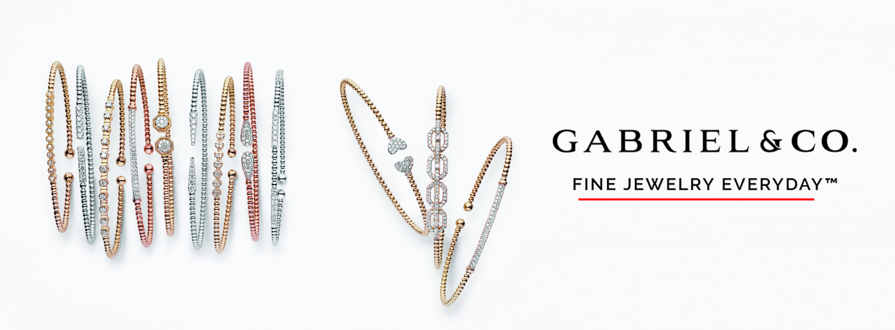 gold, silver, and rose gold bracelets from gabriel and co.