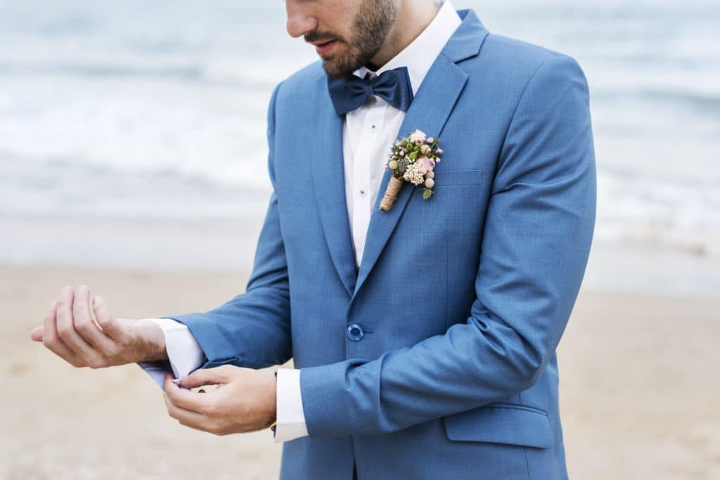 Man in blue wedding suit