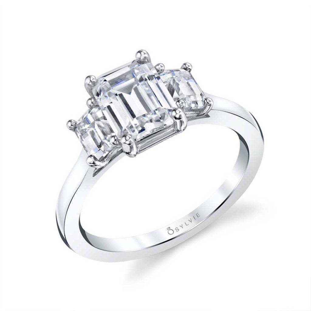 sylvie three stone engagement ring