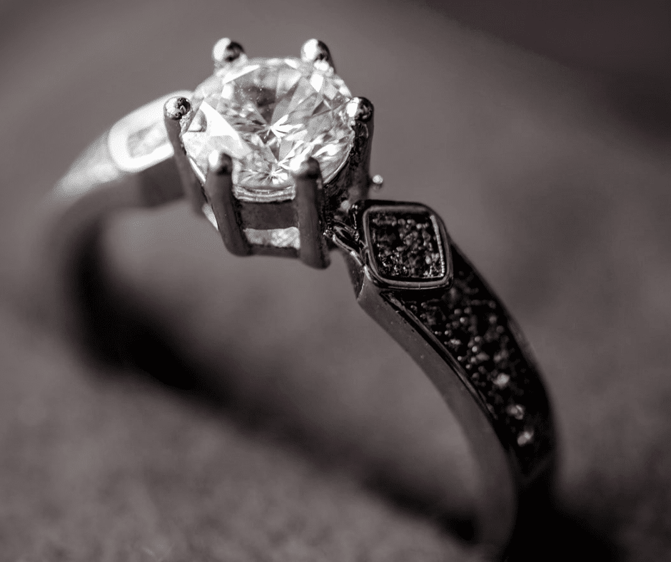 closeup of a vintage engagement ring
