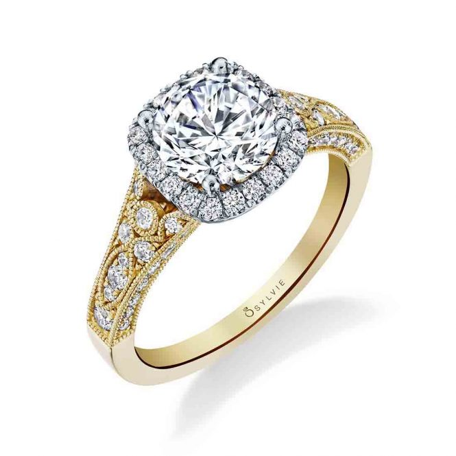 sylvie yellow gold engagement ring